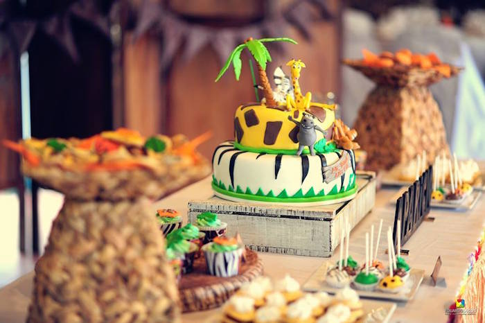 Sweet table details from a Madagascar Jungle Safari Birthday Party via Kara's Party Ideas KarasPartyIdeas.com (10)
