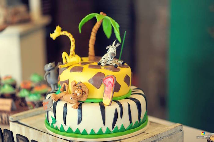 Madagascar Jungle Cake from a Madagascar Jungle Safari Birthday Party via Kara's Party Ideas KarasPartyIdeas.com (9)