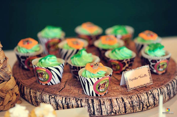 Jungle cupcakes from a Madagascar Jungle Safari Birthday Party via Kara's Party Ideas KarasPartyIdeas.com (6)