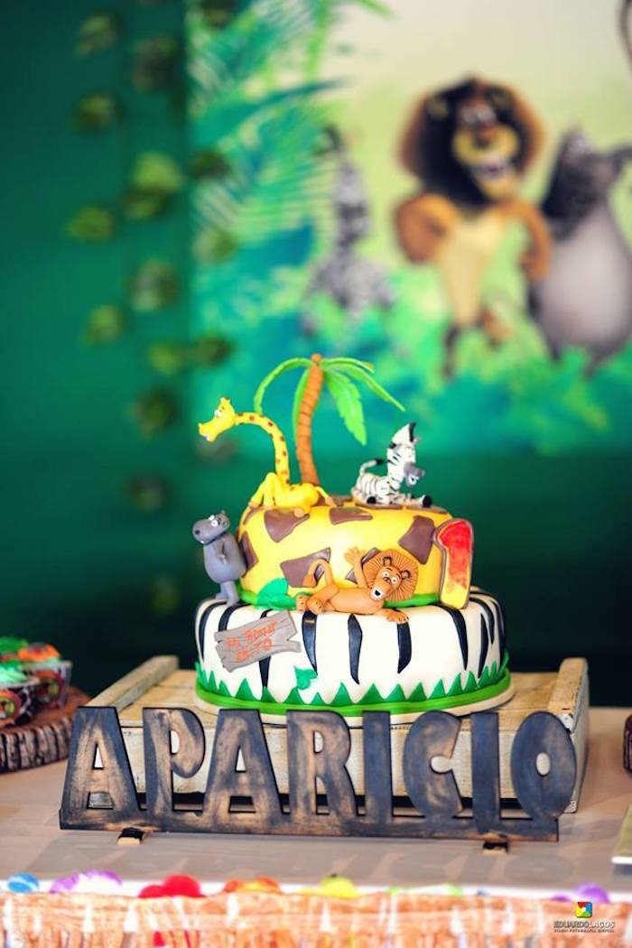 Madagascar Cake from a Madagascar Jungle Safari Birthday Party via Kara's Party Ideas KarasPartyIdeas.com (4)