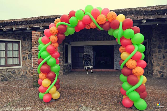 Balloon arch from a Madagascar Jungle Safari Birthday Party via Kara's Party Ideas KarasPartyIdeas.com (32)