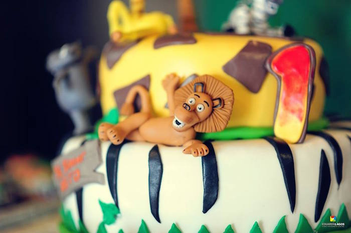 Cake from a Madagascar Jungle Safari Birthday Party via Kara's Party Ideas KarasPartyIdeas.com (30)