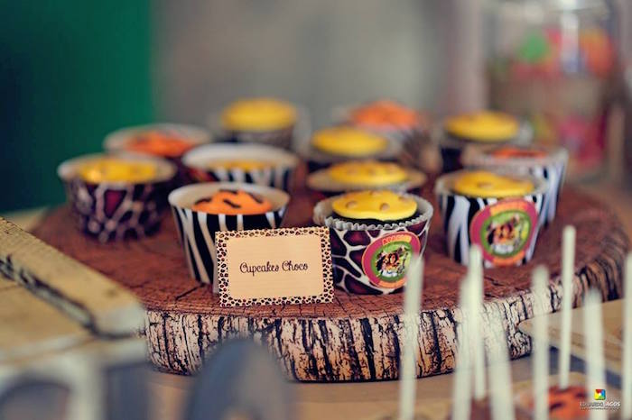 Safari cupcakes from a Madagascar Jungle Safari Birthday Party via Kara's Party Ideas KarasPartyIdeas.com (29)