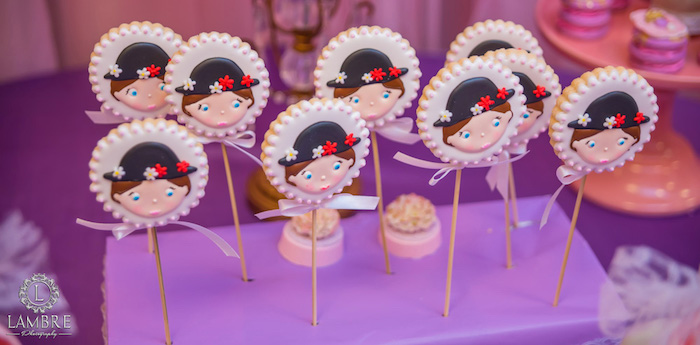 Mary Poppins Cookie Pops from a Mary Poppins Carousel Themed Birthday Party via Kara's Party Ideas - KarasPartyIdeas.com (32)