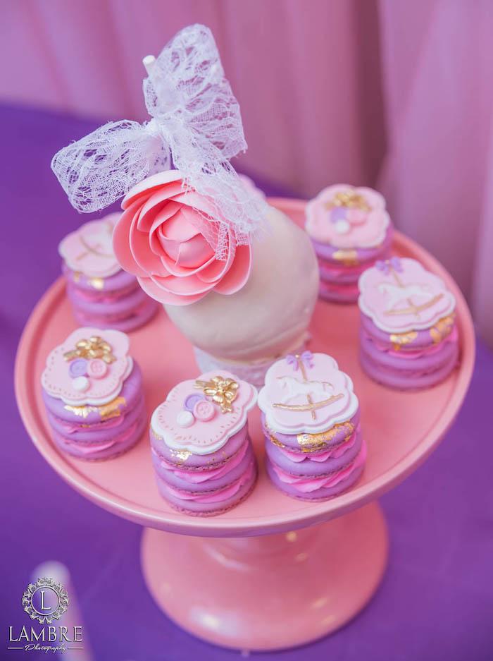 Macaron Stacks from a Mary Poppins Carousel Themed Birthday Party via Kara's Party Ideas - KarasPartyIdeas.com (31)