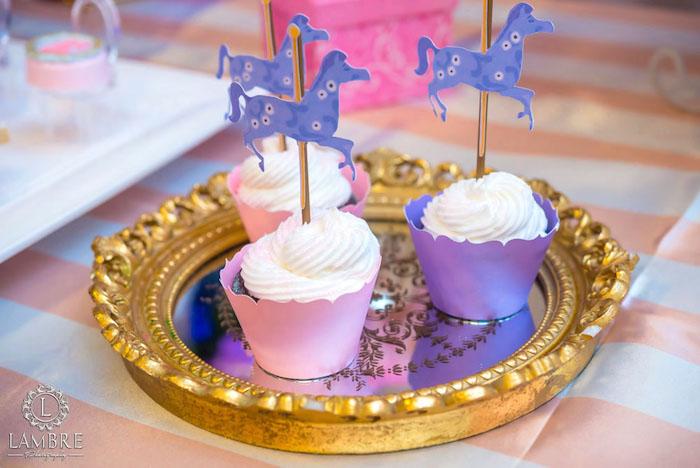 Cupcakes from a Mary Poppins Carousel Themed Birthday Party via Kara's Party Ideas - KarasPartyIdeas.com (15)