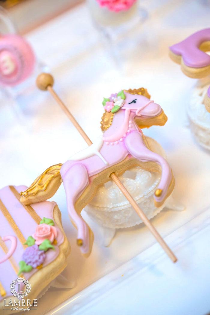 Carousel Pony Cookie from a Mary Poppins Carousel Themed Birthday Party via Kara's Party Ideas - KarasPartyIdeas.com (13)