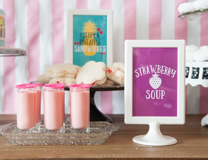 Strawberry soup shooters from a Mary Poppins Themed Birthday Party via Kara's Party Ideas | KarasPartyIdeas.com - The Place for All Things Party! (28)