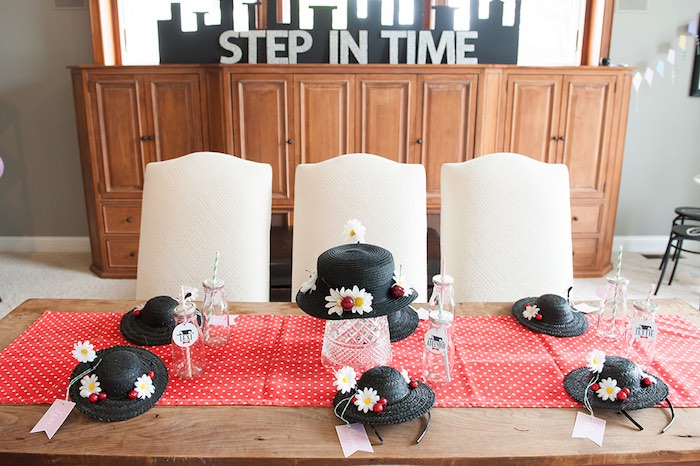 Dining tabletop from a Mary Poppins Themed Birthday Party via Kara's Party Ideas | KarasPartyIdeas.com - The Place for All Things Party! (23)