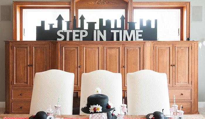 Cityscape decor from a Mary Poppins Themed Birthday Party via Kara's Party Ideas | KarasPartyIdeas.com - The Place for All Things Party! (22)