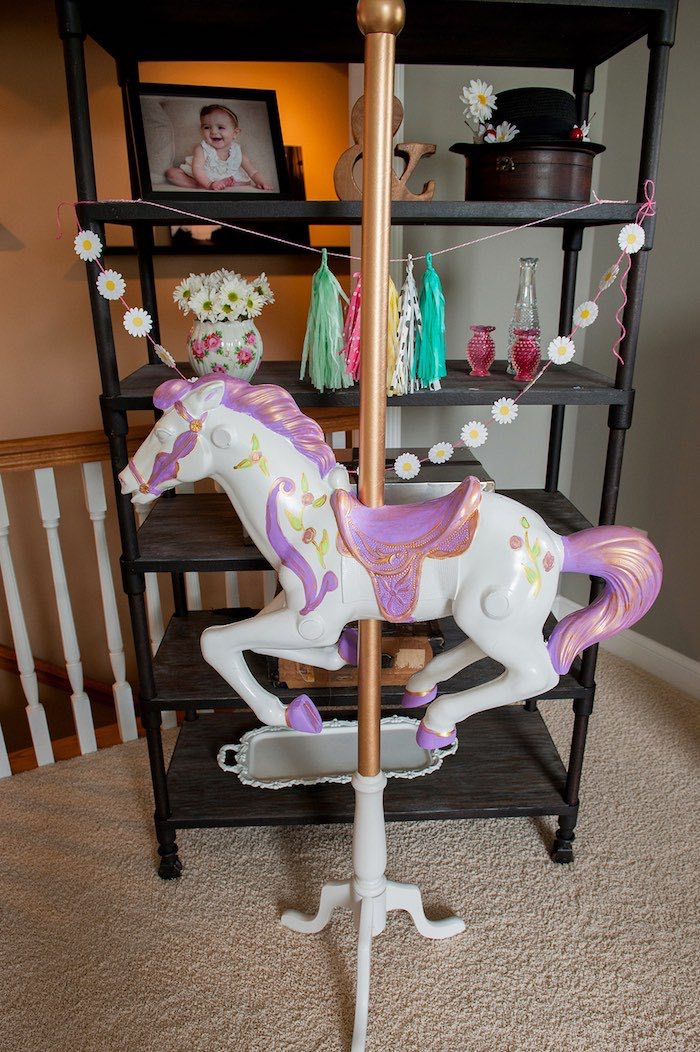 Carousel pony from a Mary Poppins Themed Birthday Party via Kara's Party Ideas | KarasPartyIdeas.com - The Place for All Things Party! (19)