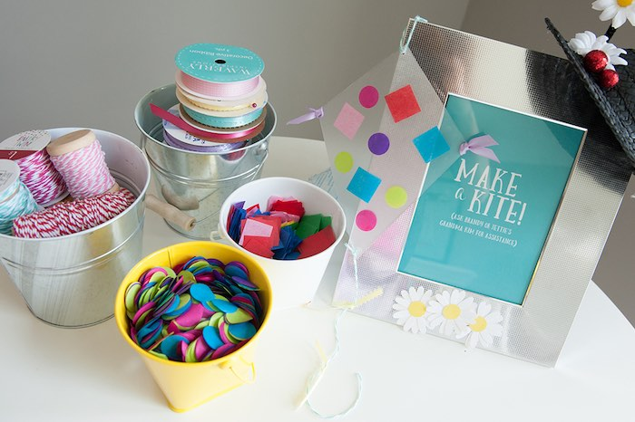 Kite crafting station from a Mary Poppins Themed Birthday Party via Kara's Party Ideas | KarasPartyIdeas.com - The Place for All Things Party! (13)