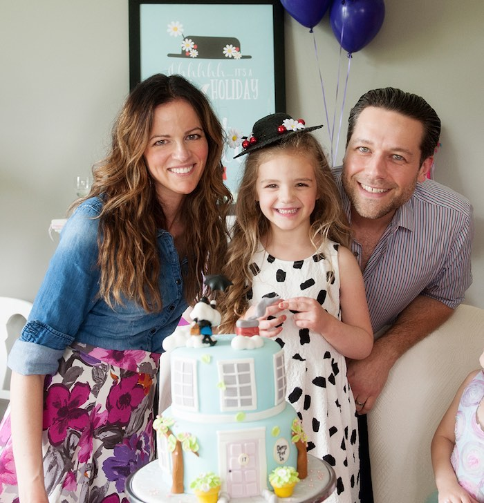 Birthday girl + parents from a Mary Poppins Themed Birthday Party via Kara's Party Ideas | KarasPartyIdeas.com - The Place for All Things Party! (10)