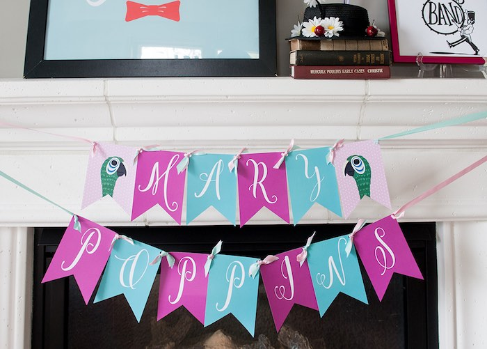 Party banner from a Mary Poppins Themed Birthday Party via Kara's Party Ideas | KarasPartyIdeas.com - The Place for All Things Party! (6)