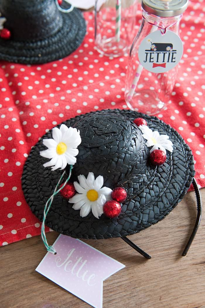 Mary Poppins straw hat place setting from a Mary Poppins Themed Birthday Party via Kara's Party Ideas   KarasPartyIdeas.com - The Place for All Things Party! (4)