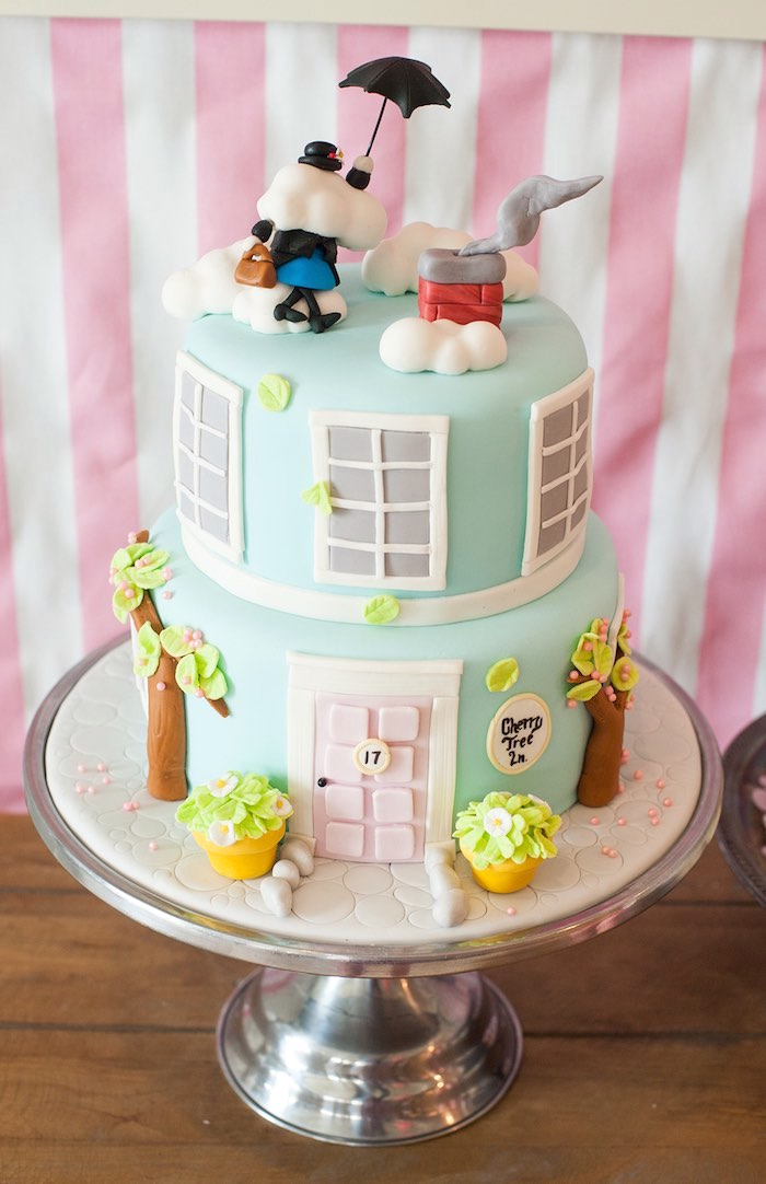 Mary Poppins-inspired Cherry Tree Lane House Cake from a Mary Poppins Themed Birthday Party via Kara's Party Ideas | KarasPartyIdeas.com - The Place for All Things Party! (33)