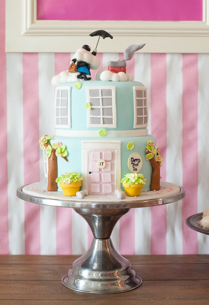 Mary Poppins Cake from a Mary Poppins Themed Birthday Party via Kara's Party Ideas | KarasPartyIdeas.com - The Place for All Things Party! (32)