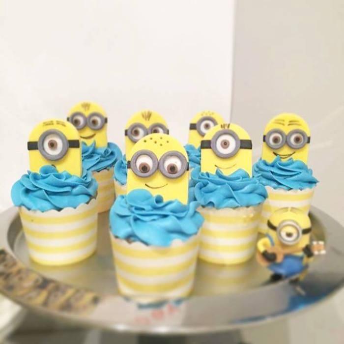Minion cupcakes from a Minions Birthday Party via Kara's Party Ideas   KarasPartyIdeas.com (4)