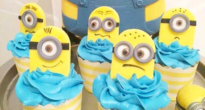 Minion cupcakes from a Minions Birthday Party via Kara's Party Ideas | KarasPartyIdeas.com (1)