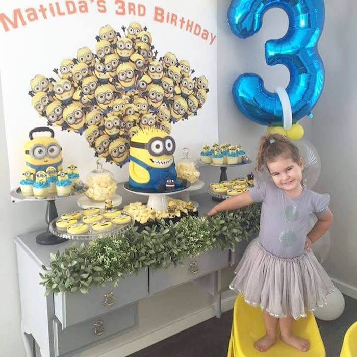 Birthday girl from a Minions Birthday Party via Kara's Party Ideas   KarasPartyIdeas.com (11)