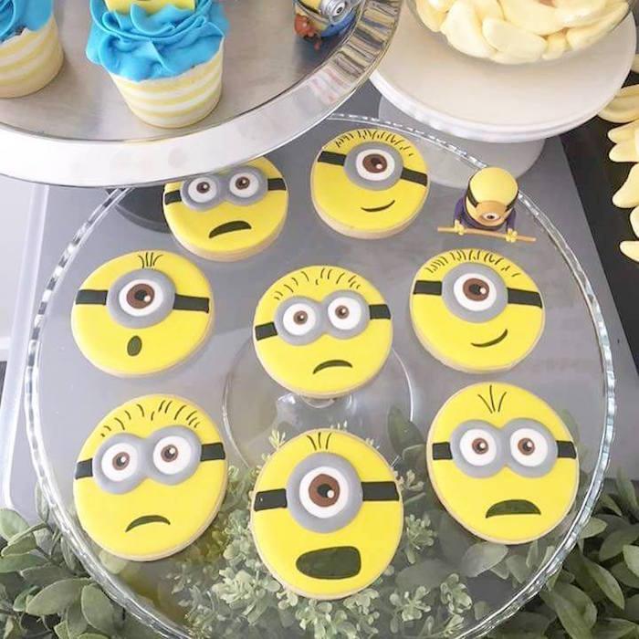 Minion cookies from a Minions Birthday Party via Kara's Party Ideas   KarasPartyIdeas.com (8)