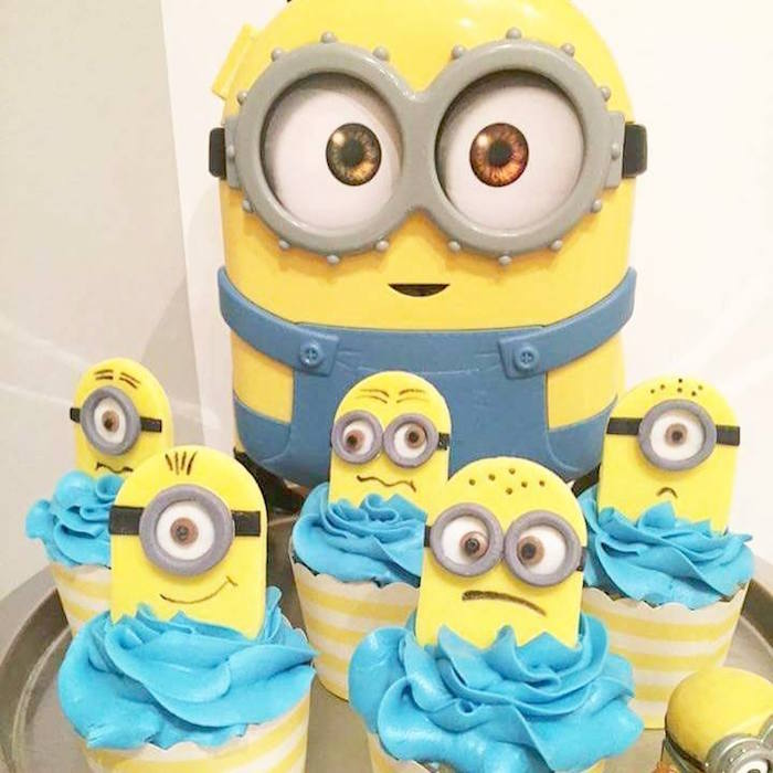 Minion cupcakes from a Minions Birthday Party via Kara's Party Ideas   KarasPartyIdeas.com (7)