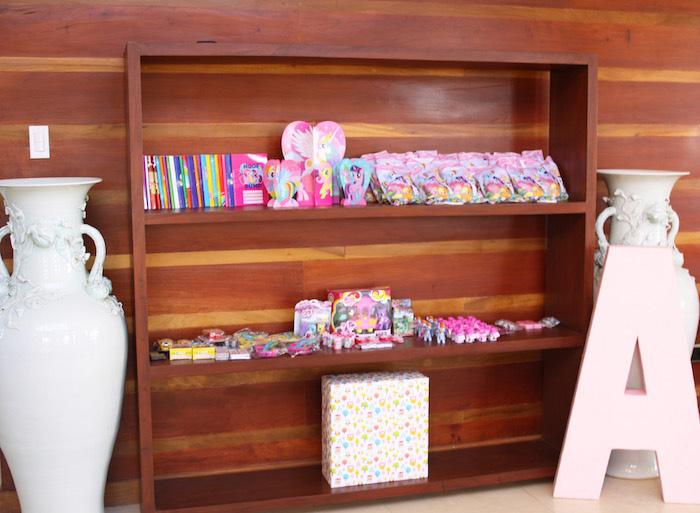 Favor shelf from a My Little Pony Birthday Party via Kara's Party Ideas | KarasPartyIdeas.com (24)