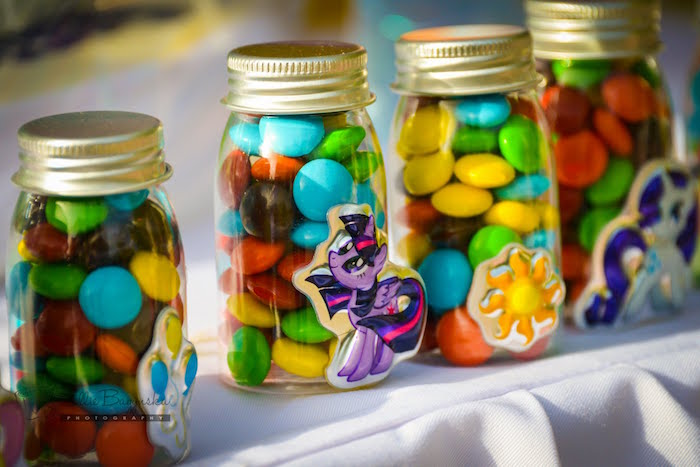 Mini M&M filled favor jars from a My Little Pony Birthday Party via Kara's Party Ideas | KarasPartyIdeas.com (30)
