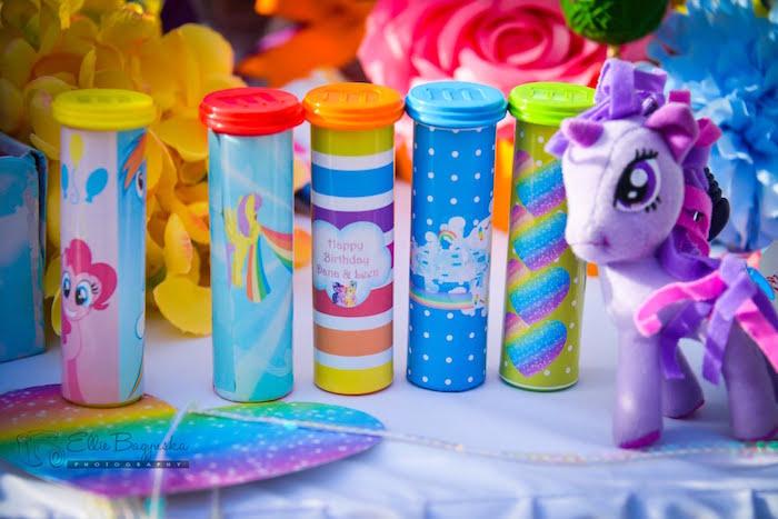 My Little Pony favor tubes from a My Little Pony Birthday Party via Kara's Party Ideas   KarasPartyIdeas.com (27)