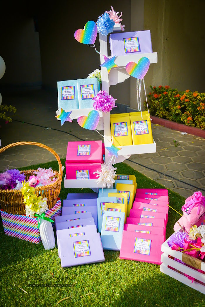 Favor stand from a My Little Pony Birthday Party via Kara's Party Ideas | KarasPartyIdeas.com (25)