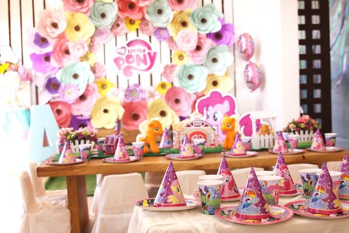 Kid tables from a My Little Pony Birthday Party via Kara's Party Ideas | KarasPartyIdeas.com (18)
