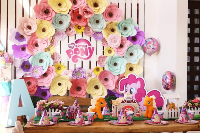 Kid table from a My Little Pony Birthday Party via Kara's Party Ideas | KarasPartyIdeas.com (17)