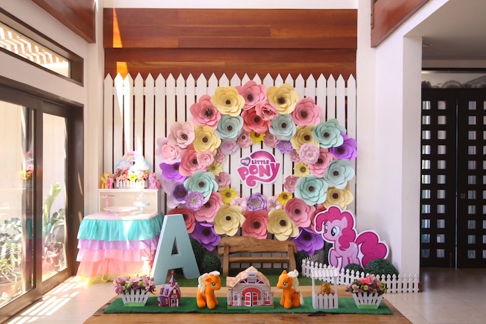 Kid table from a My Little Pony Birthday Party via Kara's Party Ideas | KarasPartyIdeas.com (33)