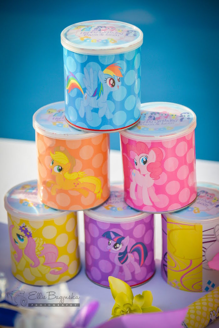 My Little Pony favor cans from a My Little Pony Birthday Party via Kara's Party Ideas | KarasPartyIdeas.com (14)