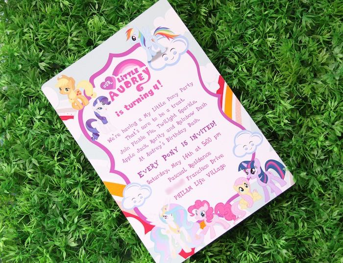 Invitation from a My Little Pony Birthday Party via Kara's Party Ideas | KarasPartyIdeas.com (6)