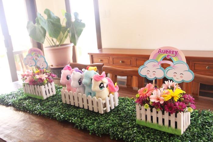 My Little Pony table centerpieces from a My Little Pony Birthday Party via Kara's Party Ideas | KarasPartyIdeas.com (32)
