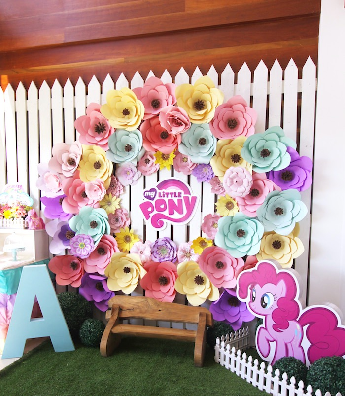 Paper flower party backdrop from a My Little Pony Birthday Party via Kara's Party Ideas | KarasPartyIdeas.com (4)