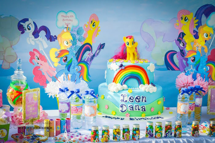 Cake display from a My Little Pony Birthday Party via Kara's Party Ideas | KarasPartyIdeas.com (8)
