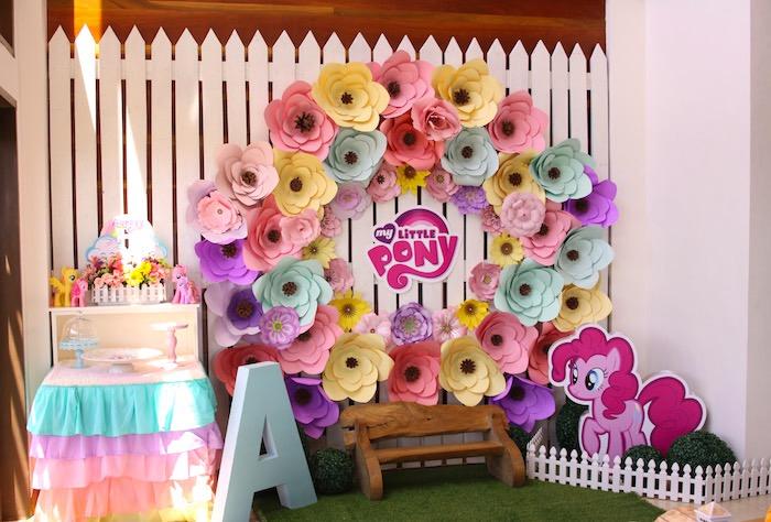Dessert table + party backdrop from a My Little Pony Birthday Party via Kara's Party Ideas | KarasPartyIdeas.com (29)
