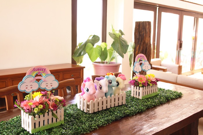 Table centerpieces from a My Little Pony Pastel Birthday Party via Kara's Party Ideas | KarasPartyIdeas.com (28)