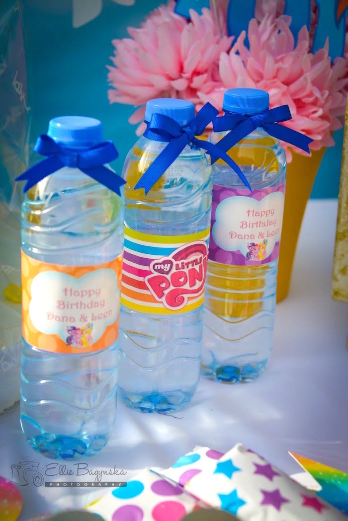 Water bottles from a My Little Pony Birthday Party via Kara's Party Ideas | KarasPartyIdeas.com (31)