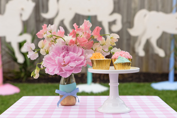 Guest tablescape from a Pastel County Fair Themed Birthday Party via Kara's Party Ideas KarasPartyIdeas.com (11)