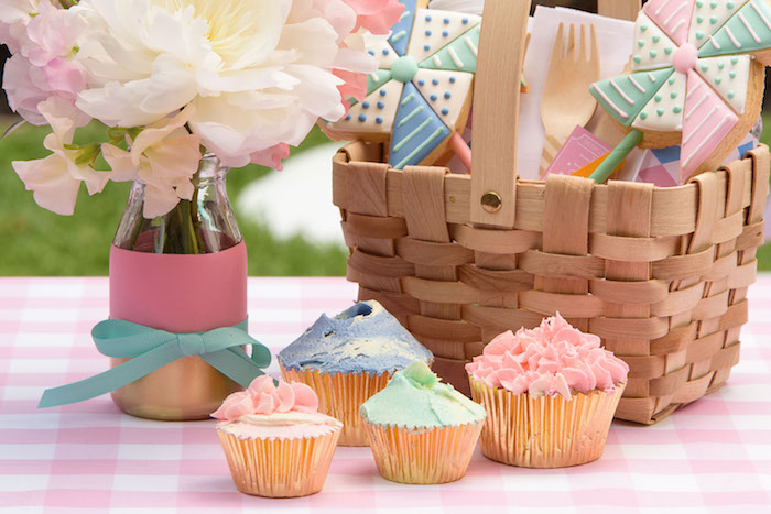 Cupcakes + table centerpieces from a Pastel County Fair Themed Birthday Party via Kara's Party Ideas KarasPartyIdeas.com (20)