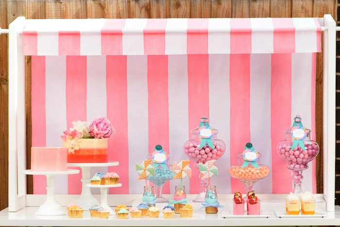 Adorable dessert table from a Pastel County Fair Themed Birthday Party via Kara's Party Ideas KarasPartyIdeas.com (19)