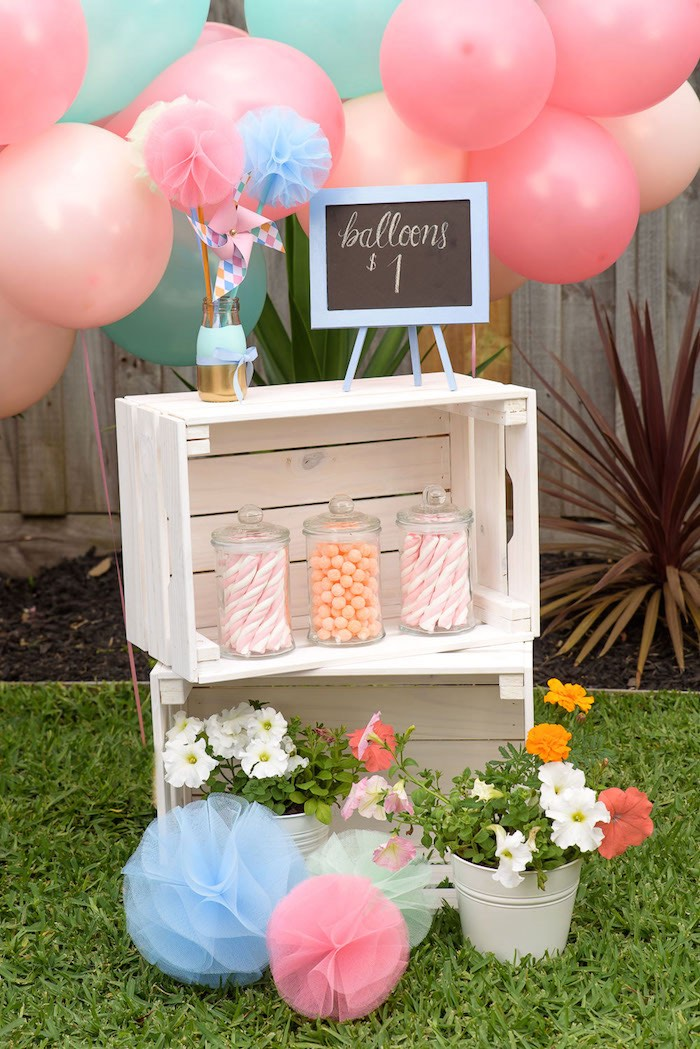 A gorgeous stacked crate party display from a Pastel County Fair Themed Birthday Party via Kara's Party Ideas KarasPartyIdeas.com (12)