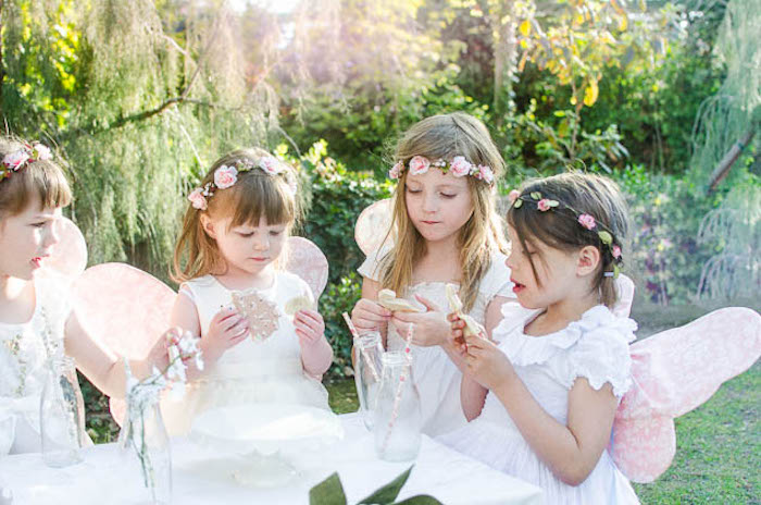 Little Pixies enjoying some Cookies from a Pastel Fairy Themed Birthday Party via Kara's Party Ideas | KarasPartyIdeas.com (15)