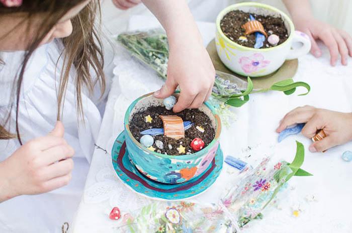 Fairy Garden Tea Cup Creation Station from a Pastel Fairy Themed Birthday Party via Kara's Party Ideas | KarasPartyIdeas.com (12)