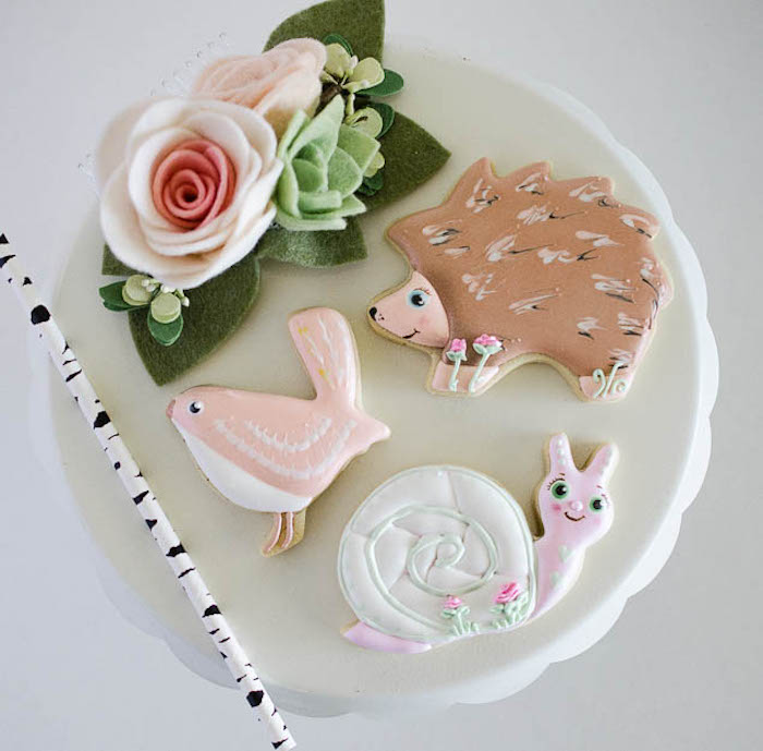 Woodland Animal Cookies from a Pastel Fairy Themed Birthday Party via Kara's Party Ideas | KarasPartyIdeas.com (9)