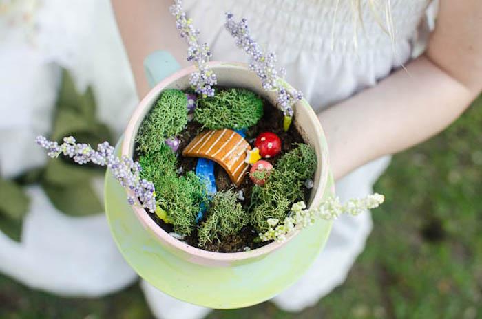 Fairy Garden Tea Cup from a Pastel Fairy Themed Birthday Party via Kara's Party Ideas | KarasPartyIdeas.com (5)