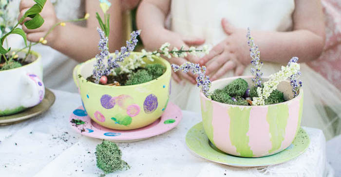 Fairy Garden Tea Cups from a Pastel Fairy Themed Birthday Party via Kara's Party Ideas | KarasPartyIdeas.com (1)